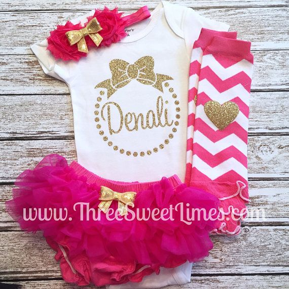 96a1bec47 Personalized Baby Gift | Baby Girl Shower Gift | Bright Pink Glitter Gold  Outfit | Bow Monogram Romper Bodysuit | Custom Gift For Baby Girl
