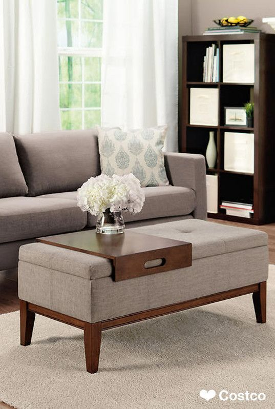 The Naomi Storage Ottoman combines sophisticated style with functional storage. You'll find the Naomi Storage Ottoman to be the perfect fit for any room. This tufted fabric upholstery is padded for supportive comfort. It includes a removable wood tray that can conveniently serve as a dining surface, a serving tray or laptop table.