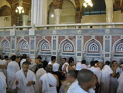 Well of Zamzam-- (or the Zamzam Well, or just Zamzam) is a well located within the Masjid al-Haram in Mecca, Saudi Arabia, 20 m (66 ft) east of the Kaaba,[1] the holiest place in Islam. According to Islamic belief, it is a miraculously generated source of water from God, which began thousands of years ago when Abraham's (Ibrāhīm) infant son Ishmael ('Ismāʻīl) was thirsty and kept crying for water. Millions of pilgrims visit the well each year while performing the Hajj or Umrah pilgrimage