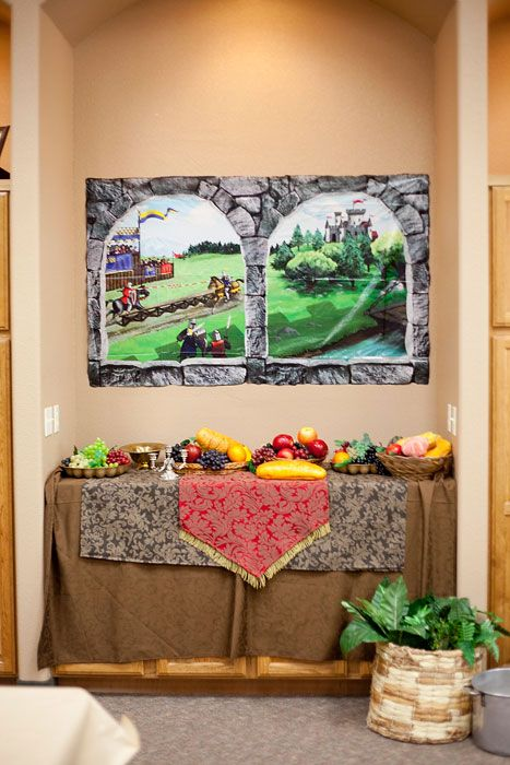 Decorating Ideas » Kingdom Rock VBS Another scene setting idea. This one is using a posters from the poster packs.  Use this type of set up for the info table?