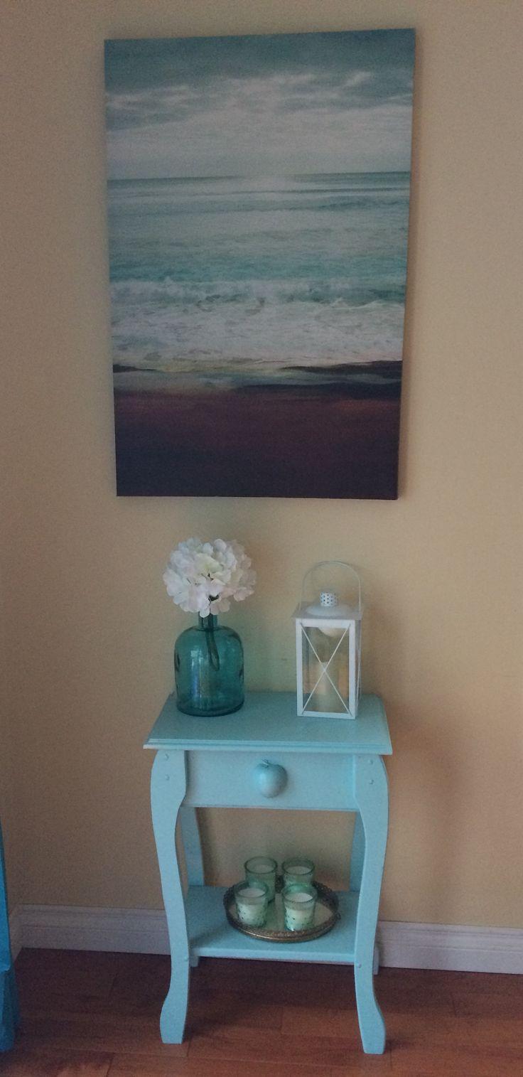 Beachy corner decor in my dining room