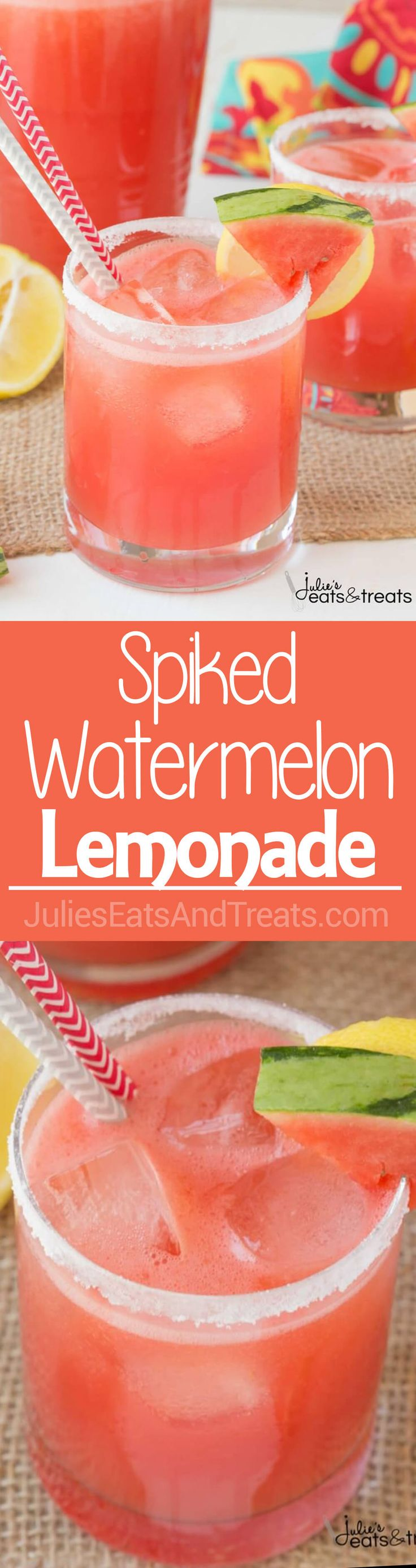 Spiked Watermelon Lemonade is a delicious blend of watermelon, frozen lemonade and vodka. This is one adult drink you won't want to pass up this summer! ~ http://www.julieseatsandtreats.com