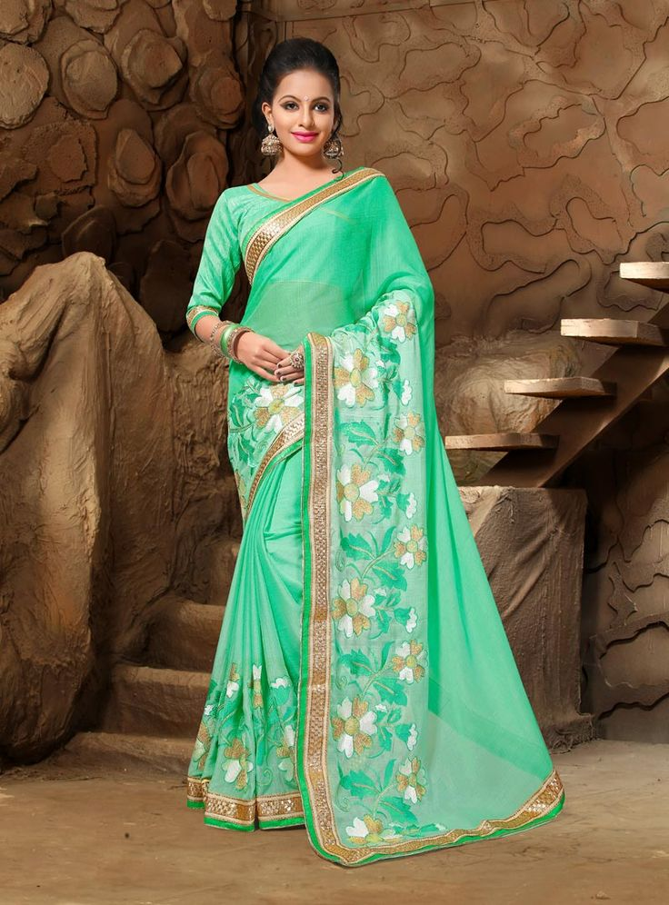 Sea Green Chiffon Saree With Blouse 80882