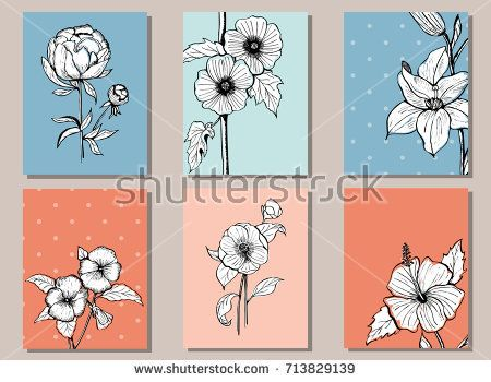 Vector set of cards with botany illustrations - camellia, lily, hibiscus, alcea rosea, pansy, peony for event invitation template, weddings stationery or any other holidays and celebrations