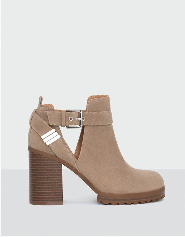 Pull&Bear - femme - chaussures - tout afficher - bottine à talon ajourée - sable - 15205111-I2016