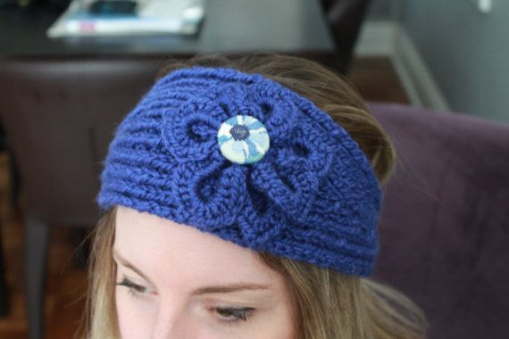 Knit headband with crochet flower and cover by BecomingButtons, $20.00