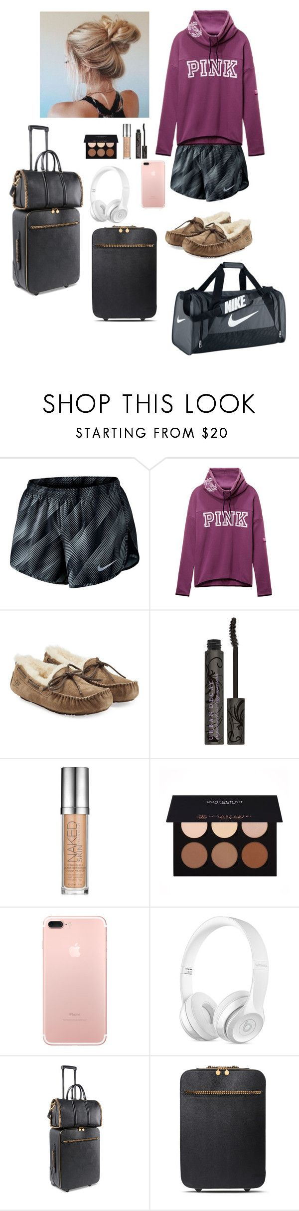 """""""Late night flight to Australia Sunday May 28 summer 6"""" by soccerstar913 ❤ liked on Polyvore featuring NIKE, Victoria's Secret, UGG, Urban Decay, Anastasia Beverly Hills and STELLA McCARTNEY"""