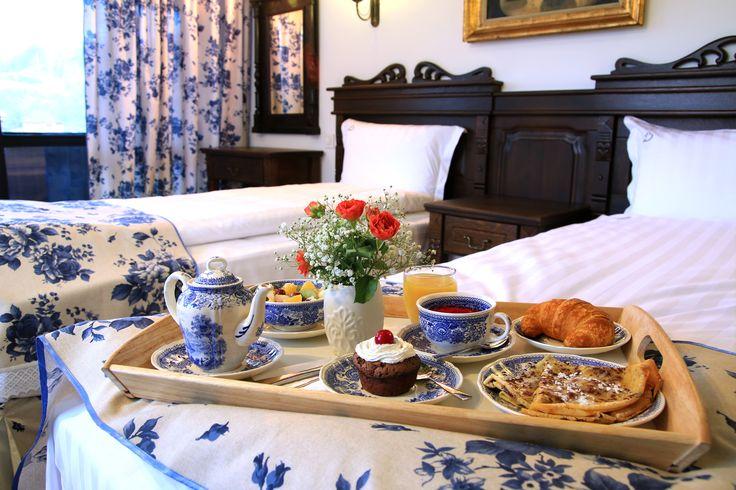 Conac | Boutique Hotel | Conacul Bratescu | Mansion | Bran, Brasov , Romania | Room | Romantic Blue 2 | Floral | Interior Design | Blue Decorations | Traditional
