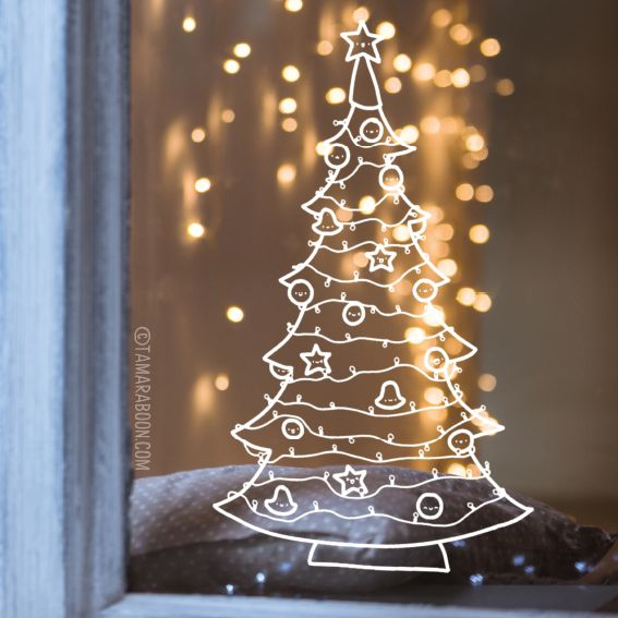 Van deze kerstboom ga je toch spontaan kerstliedjes zingen en krijg je zin om een kop warme chocolademelk bij het vuur te drinken? Deze #raamtekening door Tamara Boon is voor instant kerstkriebels.