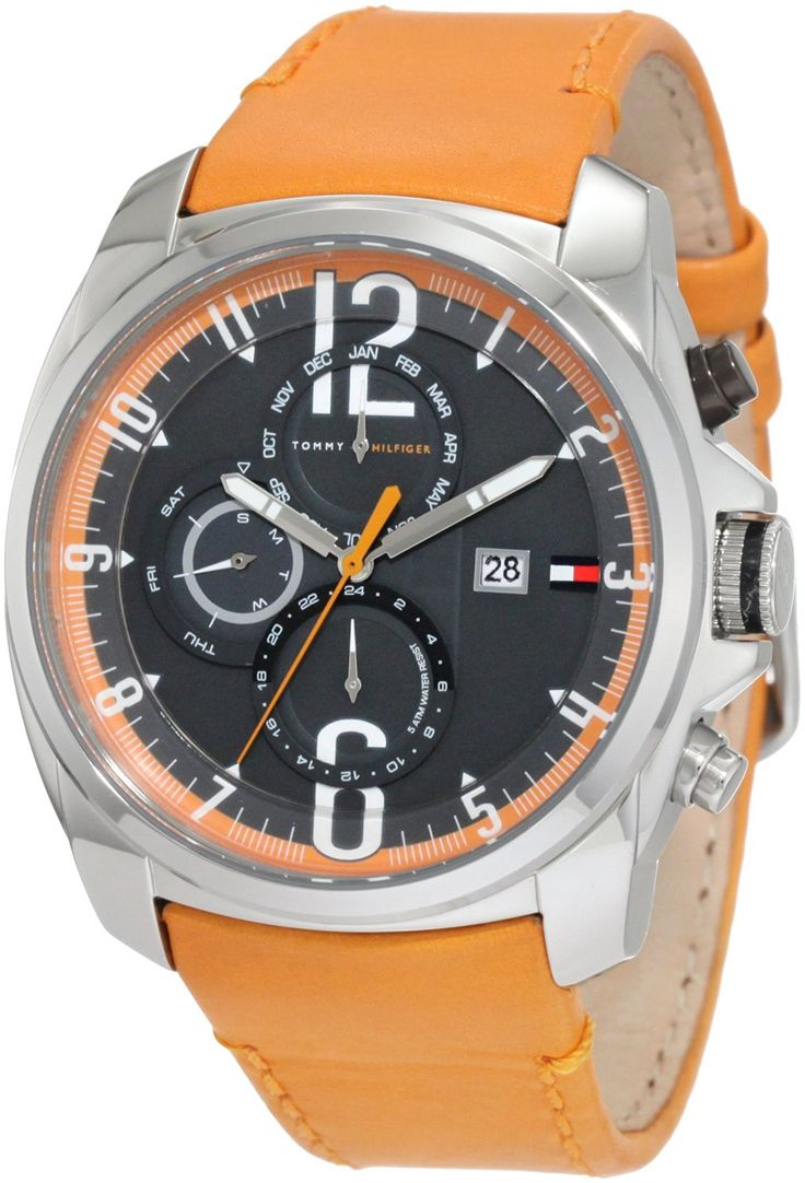 Tommy Hilfiger Men's 1790832 Sport Stainless Steel and orange strap with multifunction dial Watch * Visit the image link more details.