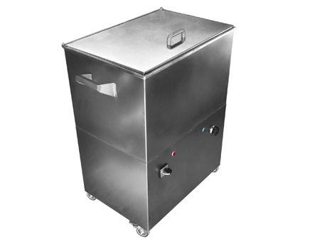 CALENTADOR DE COMPRESAS/COMPRESERO DE 80 LITROS -Rodante, construido íntegramente en acero inoxidable calidad AISI 304/ Gradilla de almacenamiento / calefactor de inmersión, termostato regulable, depósito para agua, luz piloto / Ruedas especiales para soportar el peso, 2 con freno / Tenaza para compresas.