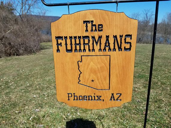 Last Name Family Camping Sign State Outline Custom Rv Sign Wooden