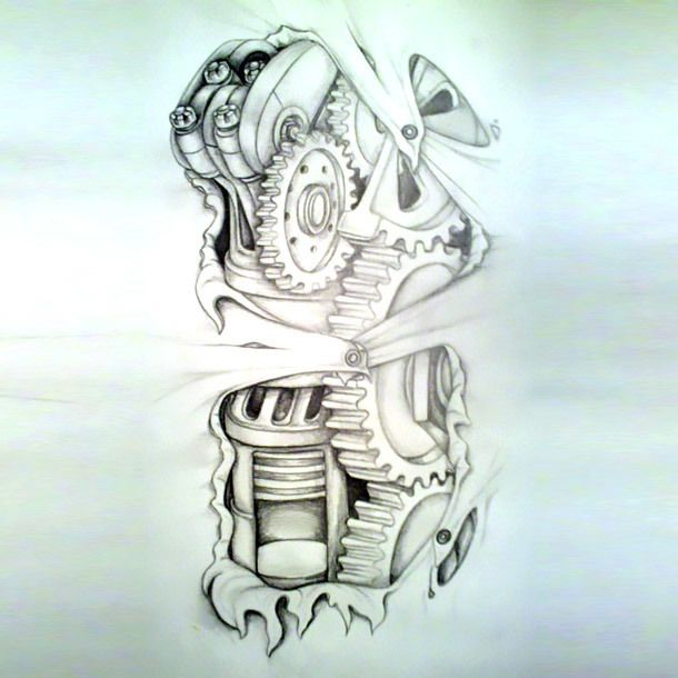 Tattoo Designs Cool Amazing Biomechanical Tattoo Sketch
