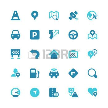 Set of 25 traffic and navigation  vector icons.  photo