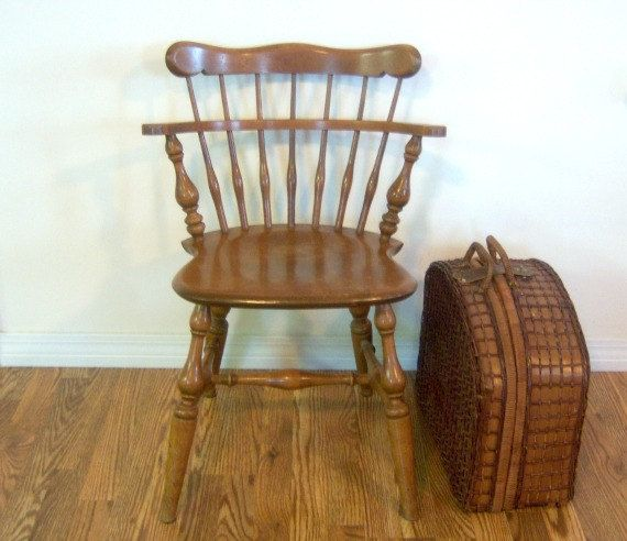 Vintage solid wood captain s chair by rockyspringsvintage