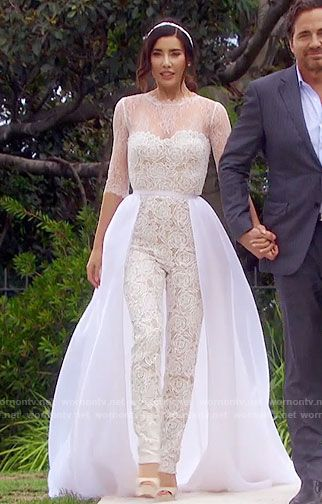 Steffy's wedding jumpsuit on The Bold and the Beautiful. Outfit Details: https://wornontv.net/67832/ #TheBoldandtheBeautiful