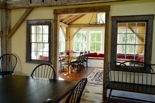 This is a good way to help separate the living room from the kitchen/dining area.  I prefer that over one huge room.: Kitchens, Dining Room, Cabin, Family Kitchen, Lilian S Sunlit, Sunlit Family, Sunroom