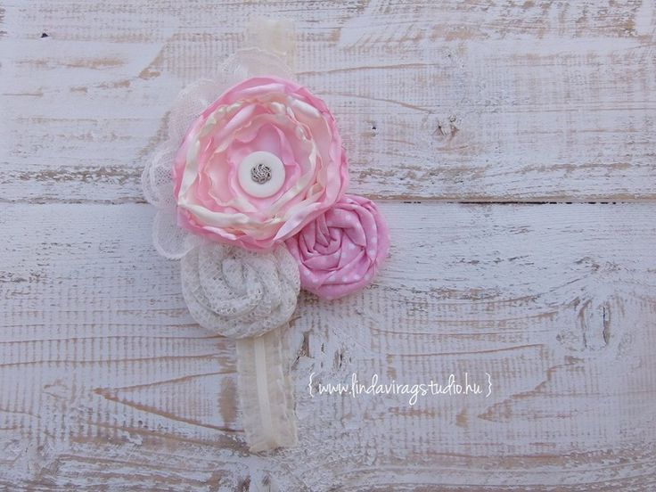 Shabby Chick pink and beige vintage baby headband