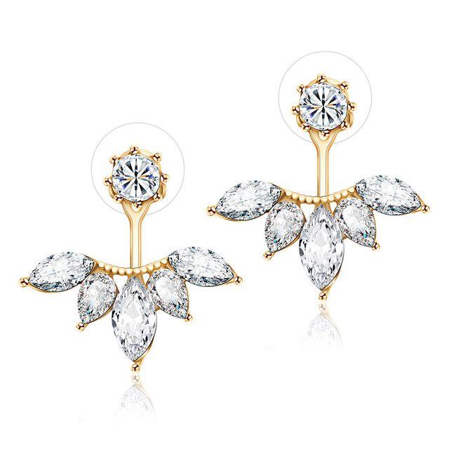 Aliexpress Hot Koop Trendy Populaire Clear Crystal Rhinestone Bloemvormige Oorbellen Dubbele Side Oorbellen