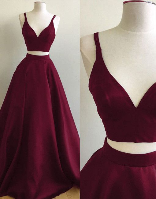 Simple A-Line Two-Piece V-Neck Burgundy Long Prom/Evening Dress