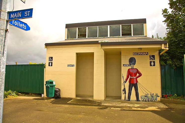 Eketahuna, public toilet with a royal connection,  see more at New Zealand Journeys app for iPad www.gopix.co.nz