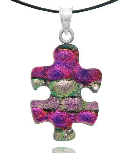 """Sterling Silver Dichroic Glass Pink and Light Pink Color Puzzle Piece Pendant Necklace on Stainless Steel Wire, 18"""" Amazon Curated Collection. Save 11 Off!. $18.00. Made in Mexico"""