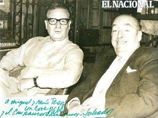 Fotografía de Salvador Allende y Pablo Neruda dedicada a Miguel Otero Silva y María Teresa Castillo (ARCHIVO EL NACIONAL)