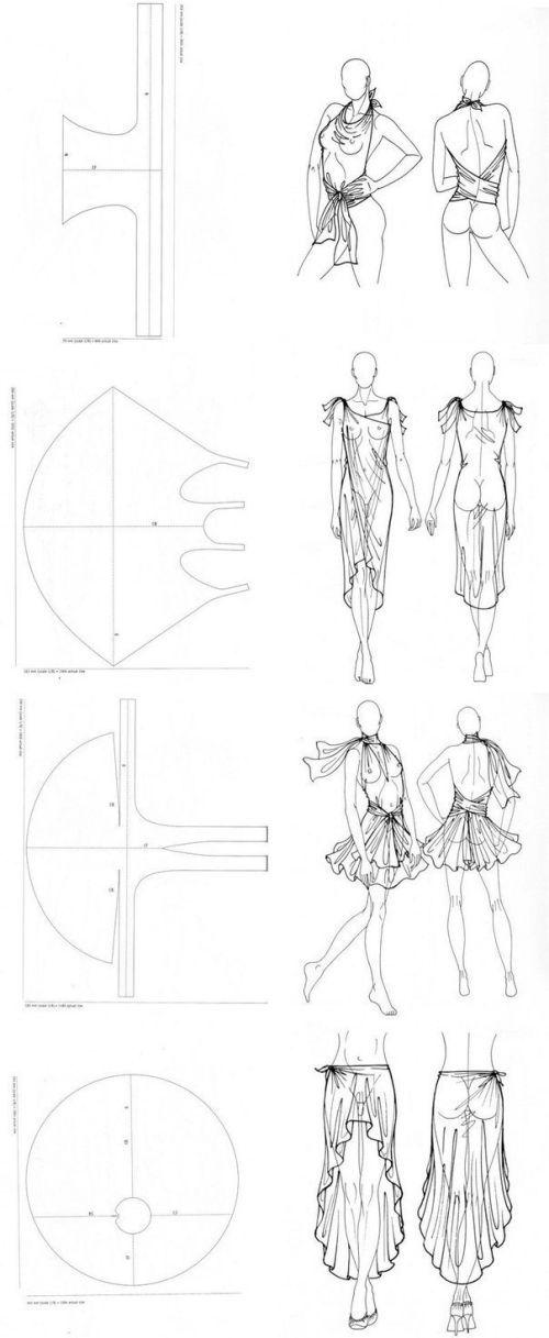 no sewing patterns. Patrón de blusa, vestido, falda, sin costuras.: