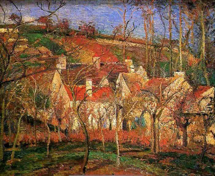 """Camille Pissarro (1830-1903) ~ """"Les toits rouges, côte de Saint-Denis à Pontoise"""" - 1877 ~ Musée d'Orsay"""