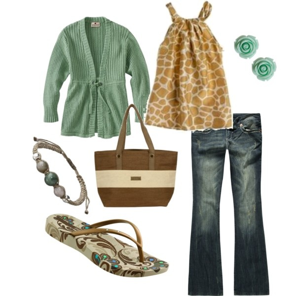 """Casual Sea Green"" -- [In This Outfit~~*J.Crew Hayworth* Giraffe Cami; *Woolrich* Women's Odella Cardigan: Clothing (from amazon.com); YMI Embroidered Back Womens Bootcut Jeans; Ipanema Rich Flip Flop - Beige & Gold; Multi Jasper Waxed Cord Bracelet; Retro Rosie Earrings and *Roman Holiday* Tote (from Birdsnest Online).]~[Created by jewhite76]'h4d'"