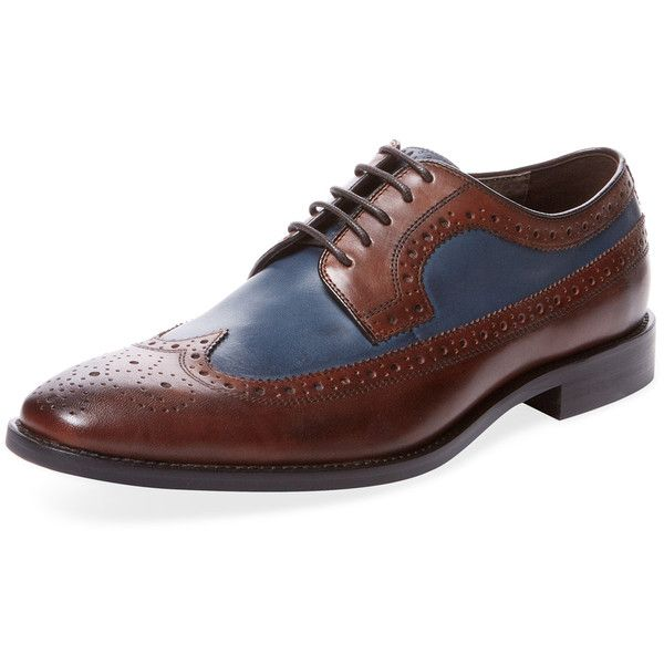 Marco Vittorio Men's Wingtip Bicolor Derby - Medium Brown - Size 7 ($99) ❤ liked on Polyvore featuring men's fashion, men's shoes, men's oxfords, medium brown, mens brogue shoes, mens brown brogue shoes, mens wingtip shoes, mens brown wingtip shoes and mens brown brogues