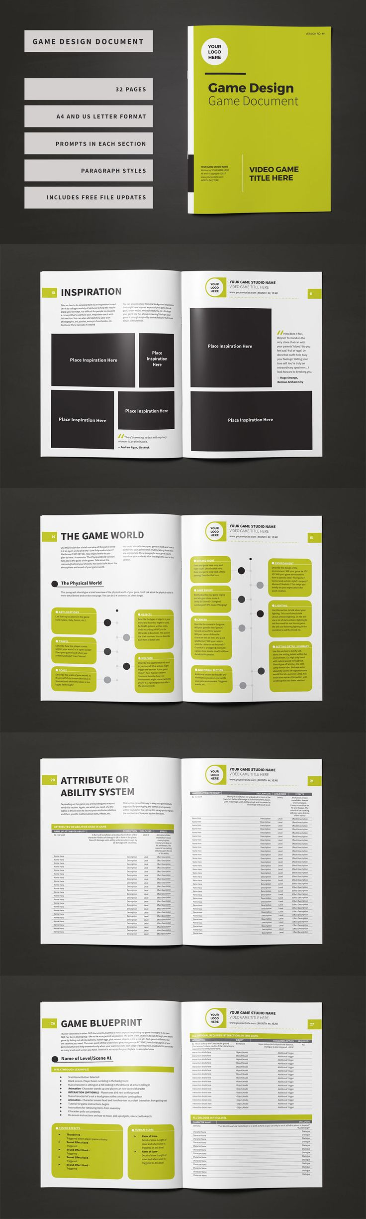 Professionally designed 32 page Game Design Document available for download!