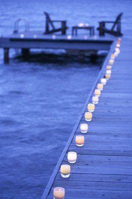 Dockside candlelight.