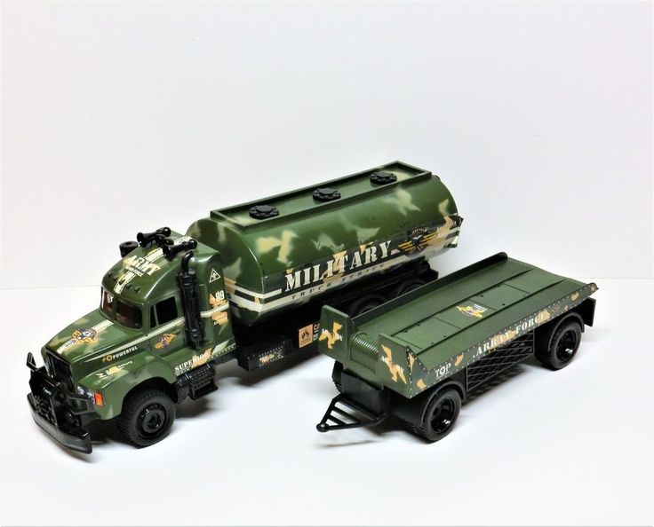 """43"""" ARMY OIL TANKER TRUCK WITH TRAILER MILITARY TRUCK SERIES LORRY TOY CAMO"""