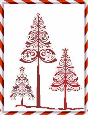 Navidad Cruz Árbol puntada navidad