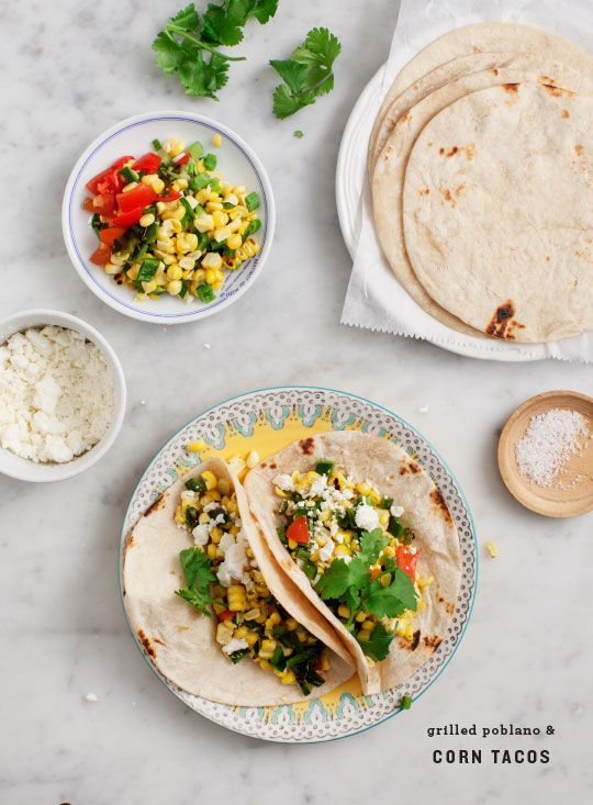 Grilled Poblano and Corn Tacos / @loveandlemons for @freshsweetcorn #huskyeah