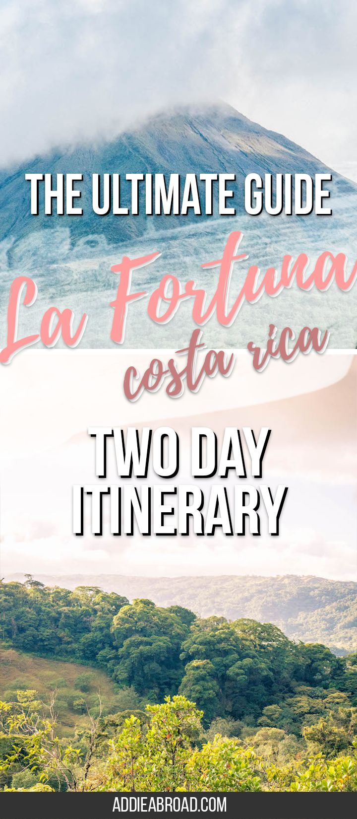 This is THE ultimate guide to La Fortuna, Costa Rica, including a two day itinerary for La Fortuna, things to do in La Fortuna Costa Rica, where to stay in La Fortuna, and what to pack. Look no further for what to do in La Fortuna, Costa Rica! via @addieabroad