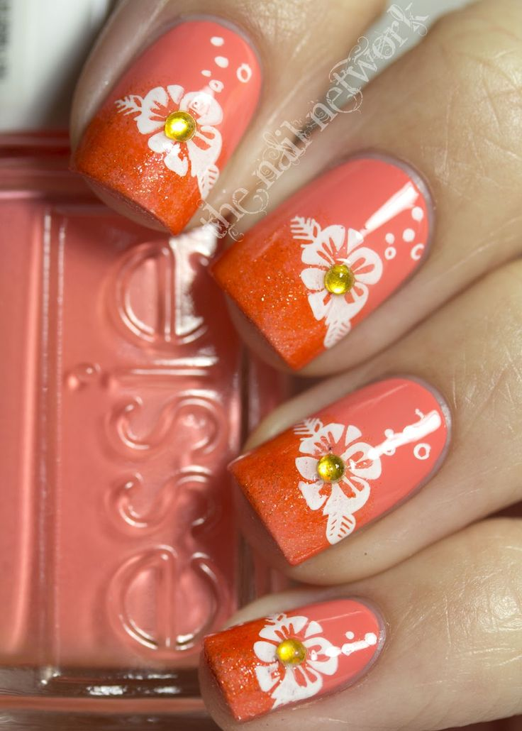 Today I have a re-do of an old mani that I did last summer. I started out with two coats of Essie Tart Deco, followed by L'Oreal Coral Starfish sponged on the tips. I stamped a flower design from MASH plate m26 in white and topped the look off with little yellow rhinestones in the center of each flower.