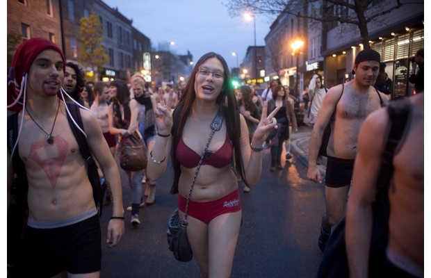 Nearly naked protest Thursday evening