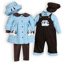 Playful Pups - Brother-Sister Coordinates, Matching Brother Sister Outfits, Matching Family Wear, Family Portait Dresses.