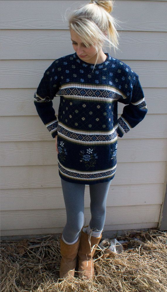 Vintage Women's Oversized Nordic Sweater...maybe around home, unless it is leggings...not tights.