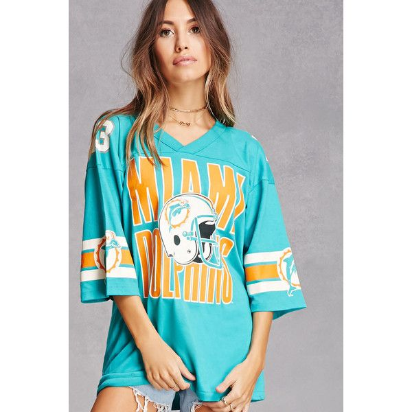Forever21 Repurposed Miami Dolphins Tee (£36) ❤ liked on Polyvore featuring tops, t-shirts, oversized t shirt, jersey t shirt, blue jersey, v neck tee and striped t shirt
