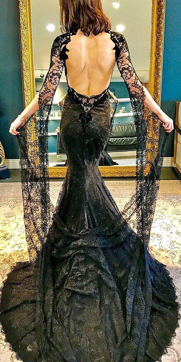schwarze Kleider Meerjungfrau mit langen Ärmeln offenem Rücken galialahav   – Future