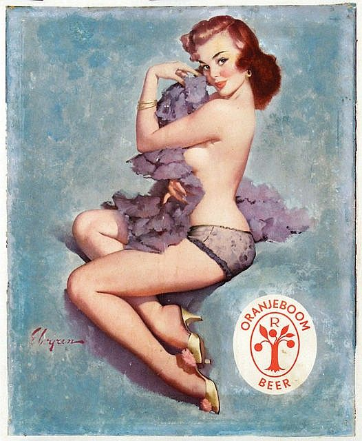 Oranjeboom Beer - 40,5x50, ca. 1950, on linen  by Gil Elvgren