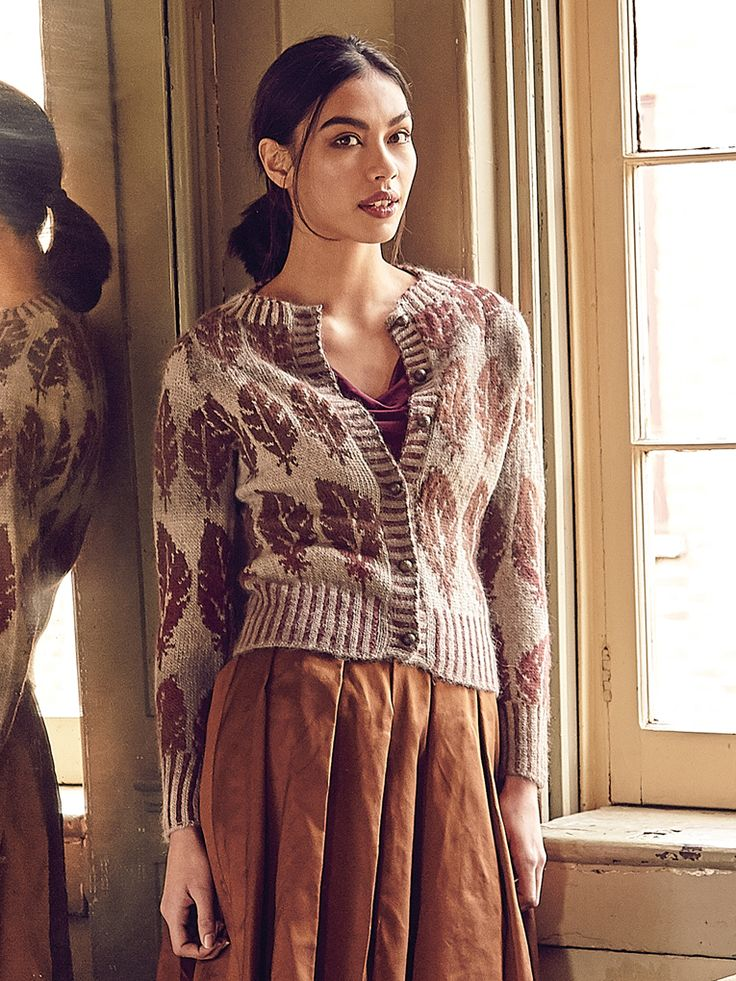 Alderney - Knit this round neck cardigan from Rowan Knitting & Crochet Magazine 58, a design by Martin Storey using our exquisite self striping yarn Alpaca Colour (alpaca and cotton.) With a contrasting leaf motif and deep ribbed edgings, this knitting pattern is suitable for the more experienced knitter.