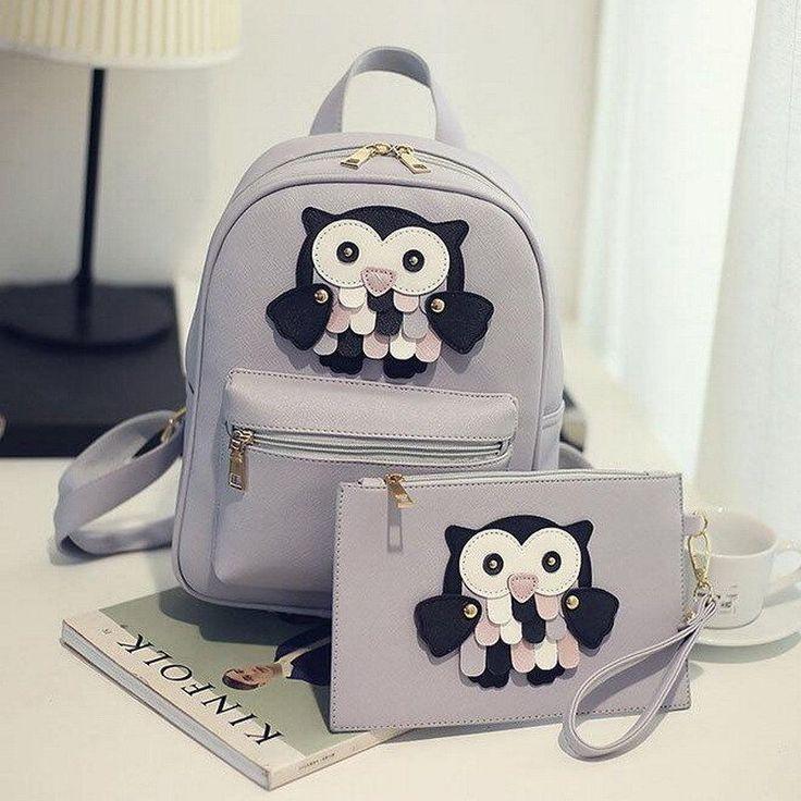 Stylish 2pc Owl Design Bag Leather Rucksack Travel School Casual Women Backpack   eBay