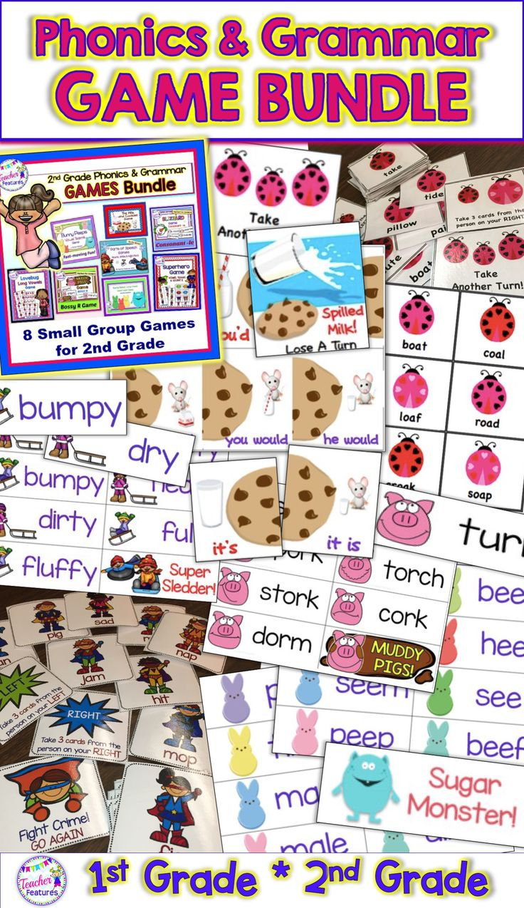 phonics and grammar games for small groups to use in Winter and Spring. Perfect for 2nd and 3rd grade intervention groups! Sounds: Long Vowels, Vowel Teams, R Controlled, Consonant -le, Silent E, Homophones, Adjectives, Nouns & Verbs #grammargames #2ndGrade #secondgrade #TeacherFeatures #phonicsgames #adjectives #VowelTeams#CVC #SilentE #BossyR #Rcontrolled #LiteracyCenter #Phonics #wordwork