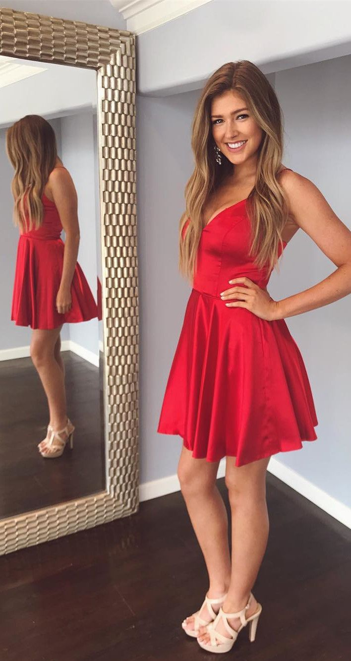 Cute straps v neck short red party dress with pockets prom dresses