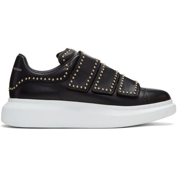 Alexander McQueen Black Studded Straps Oversized Sneakers ($750) ❤ liked on Polyvore featuring men's fashion, men's shoes, men's sneakers, black, mens black velcro sneakers, mens black shoes, mens velcro sneakers, mens studded shoes and mens velcro shoes