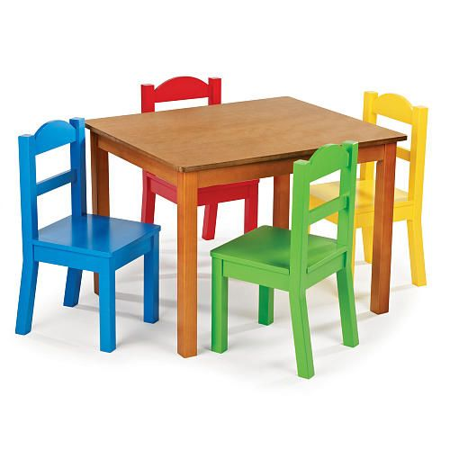 Bright and colorful! Perfect for a playroom! Tot Tutors Dark Pine Table and 4 Primary Colored Chair Set - #BRUHappyPlaces